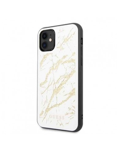 GUESS white marble glitter case