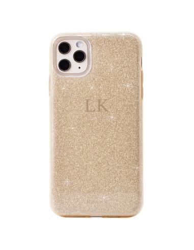 Glitter monogram gold case